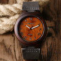 Fashion Dark Brown Wooden Case Wristwatches Roman Number Bamboo Quartz Watches With Black Leather Strap For Women Men