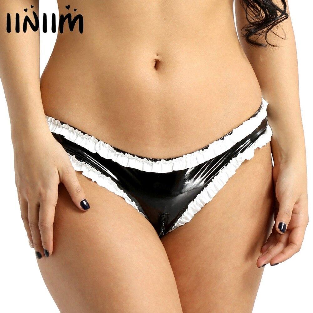 Womens Lingerie Wetlook Sexy   Panties   Faux Leather Ruffled Trims Sissy Zipper Crotch High Cut Low Rise Mini Briefs Underwear