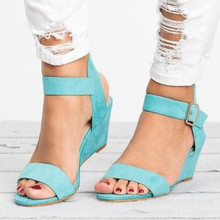 Hot Summer 2019 New Fashion Sexy Women Sandals High Heels Wedge Casual Basic Platform Shoes Woman Buckle Strap Plus Size 34-43 цена