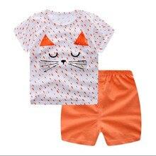 Funfeliz Dívčí dívčí tepláky Letní dívky Tepláky Krátké rukávy s krátkým rukávem Kreslené 2 PCS trička Šortky Dětské oblečení Dětské oblečení