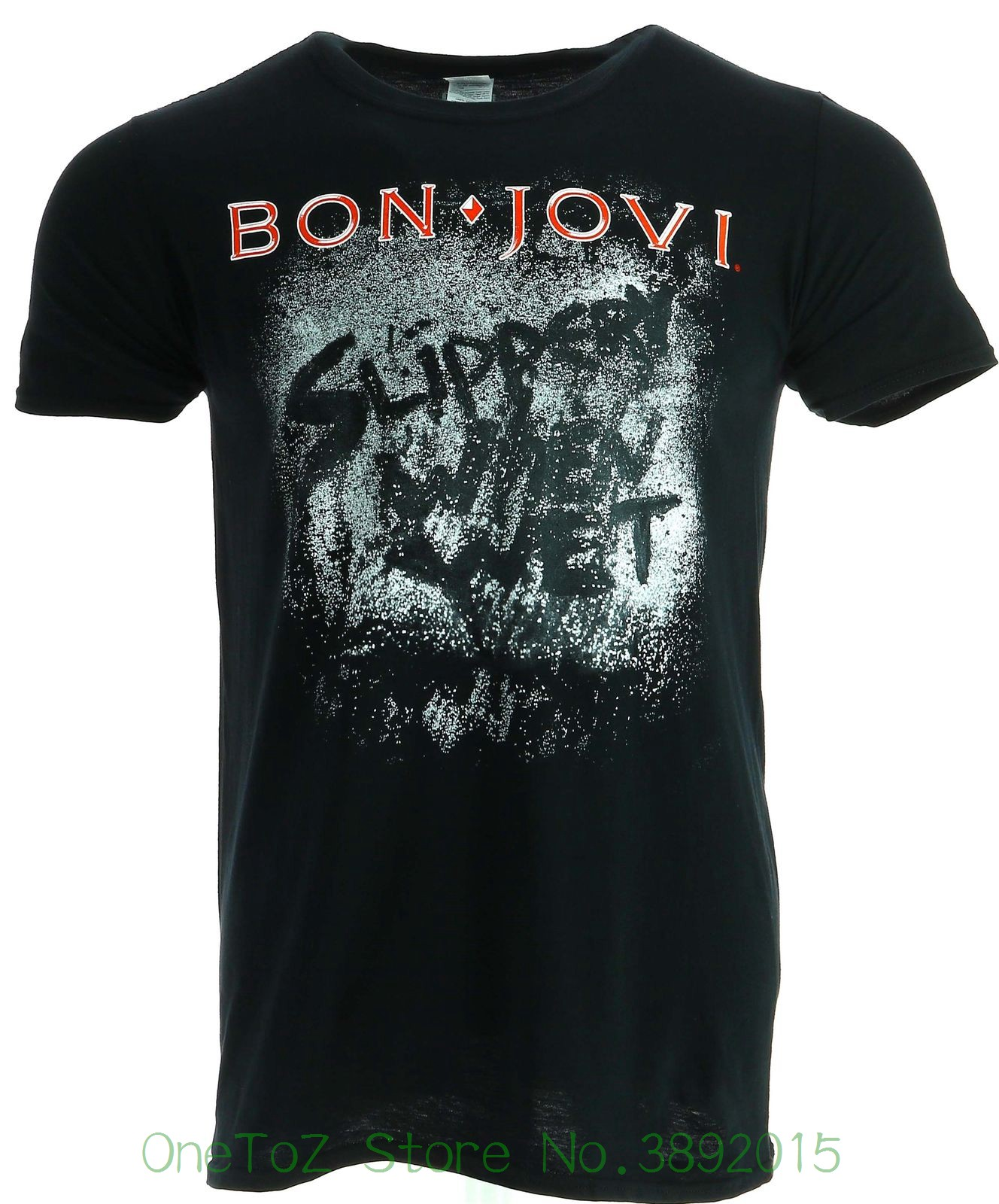 2018 Summer T-shirts For Men Bon Jovi Slippery When Wet Album Black T-shirt Official Licensed Music