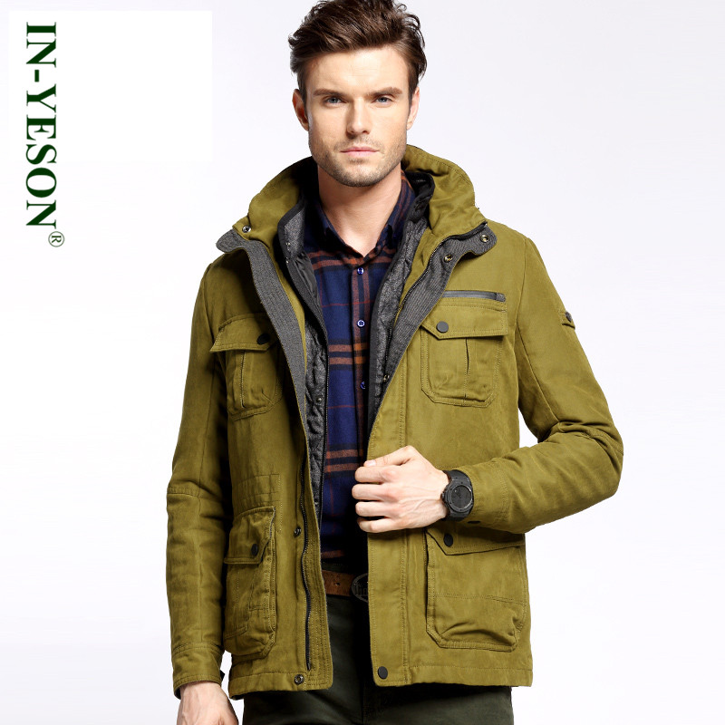 2016 Winter Coat Men Liner Detachable Brand IN-YESON Cotton-Padded Jacket Men New Fashion Warm militar Parkas Plus Size 3XL 2016 new long winter jacket men cotton padded jackets mens winter coat men plus size xxxl