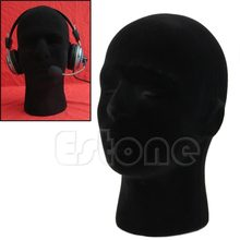Male Styrofoam Foam Mannequin Manikin Head Model Wigs Glasses Cap Display Stand Black Color #D9851#(China)