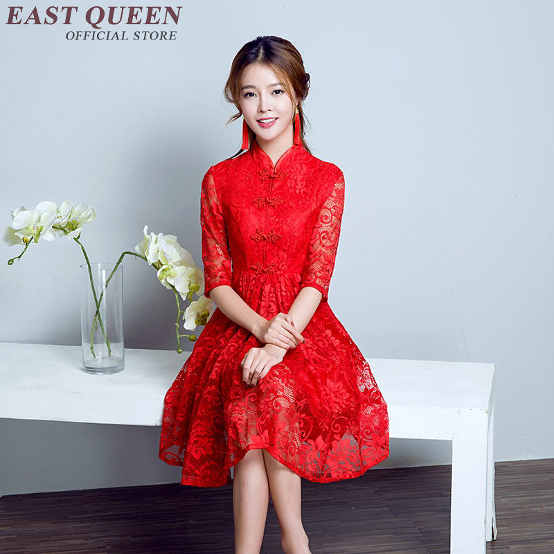modern qipao dress ethic style short cheongsam red chinese