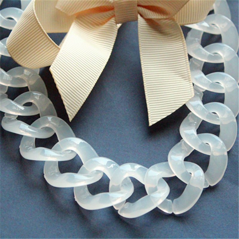 Open Link 52x35mm 10 pcs White Plastic Chain Links White Acrylic Chain Links L0MP.WH