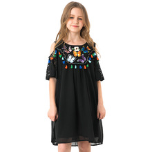 Girls Black Chiffon Dress Summer Ethnic Style Children's Dresses Butterfly Pattern Shoulderless Kids Dress For Teen Girls 5-14y