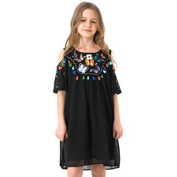 Girls Black Chiffon Dress Summer Ethnic Style Children's Dresses Butterfly Pattern Shoulderless Kids Dress For Teen Girls 5-14y