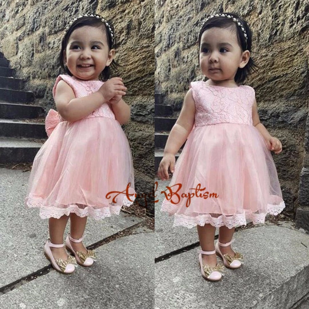 Cute pink toddler flower girl dresses lace appliques tiered baby first birthday princess pageant dress with bow