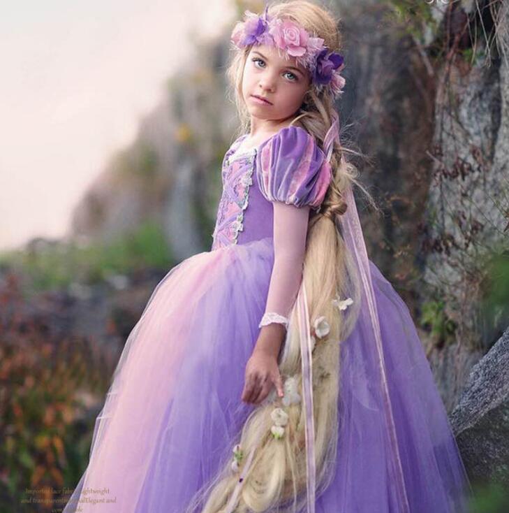 Niñas vestido Niñas Rapunzel traje para niños ropa Niñas cinderela ...