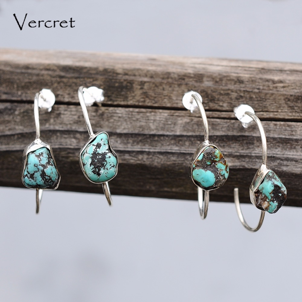 Vercret trendy turquoise drop earring geometric 925 sterling silver dangle earrings for women Valentine's jewelry gift pair of trendy faux turquoise leaf alloy drop earrings for women