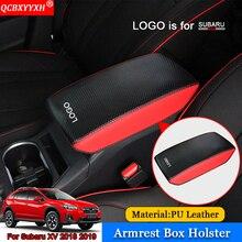 QCBXYYXH Car-styling Car Pad Cover Leather Storage Protection Cushion Auto Seat Armrest Box Pads For Subaru XV Impreza 2018 2019