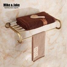 Оптовая Античная латунь ванной вешалка для полотенец ванной полотенце полка ванной полотенце держатель Античный Двойная полка для полотенец