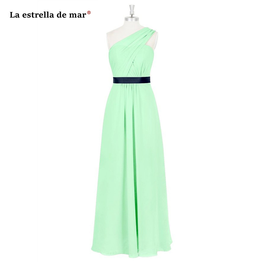 robe demoiselle d'honneur cheap chiffon one shoulder A line mint green emerald green purple royal blue   bridesmaid     dress   plus