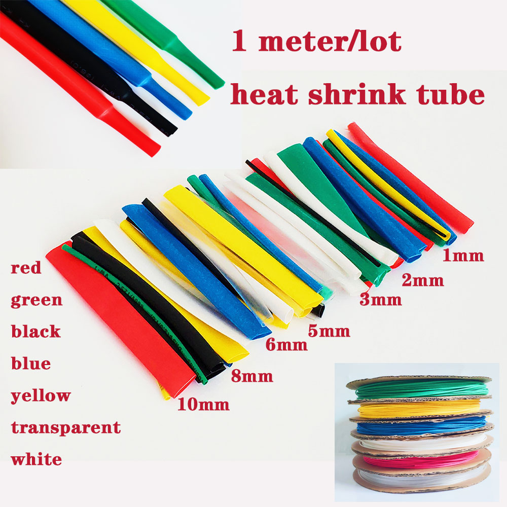 Heat Shrink Tube 1 Meter 2:1 Color 1 2 3 5 6 8 10mm Diameter Heatshrink Tubing Wire Connector Wrap Wire Repair Tube Cable Sleeve