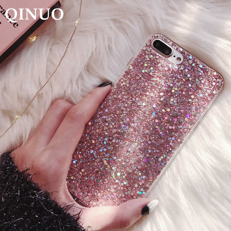 QINUO Glitter Phone Case For Huawei P8 P9 P10 P20 2016 2017 P30 P Smart Plus 2019 Mate 10 20X Lite Pro Blingbling Crystal Cover
