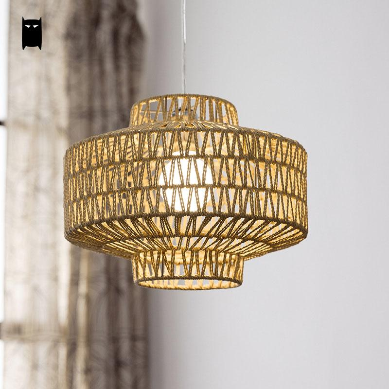 Hand-Woven Hemp Rope Iron Geometry Shade Pendant Light Fixture Vintage Industrial Art Hanging Lamp Avize Design Dining Room Cafe