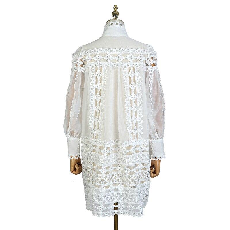 2019 Boutique Femme Vestido Mini Printemps Manches Découpe Pour Robe Noir Supérieure Broderie Ete blanc Bouffantes Designer De Boutons Femmes Qualité 6Oawr6xZ
