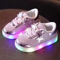 מהבהבים נעלי ספורט shoes תינוק בני בנות פעוטות ילדים זוהרים led זוהר מנורה עם אורות עד sparkle נצנצים לילדים shoes