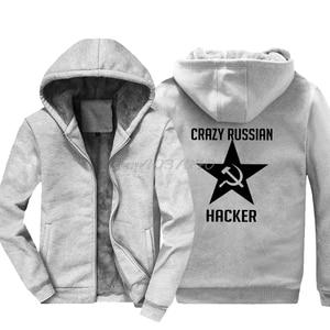 Image 2 - Crazy Russian Hacker Funny Hoodies Winter Cccp Print Sweatshirt Men Cotton Keep Warm Cool Jackets Hoody Harajuku Streetwear