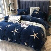 Winter Warm thickening Milk cashmere Soft Bedding sets Queen King Coralline Duvet cover Bed sheet set Pillowcase 4pcs blue star