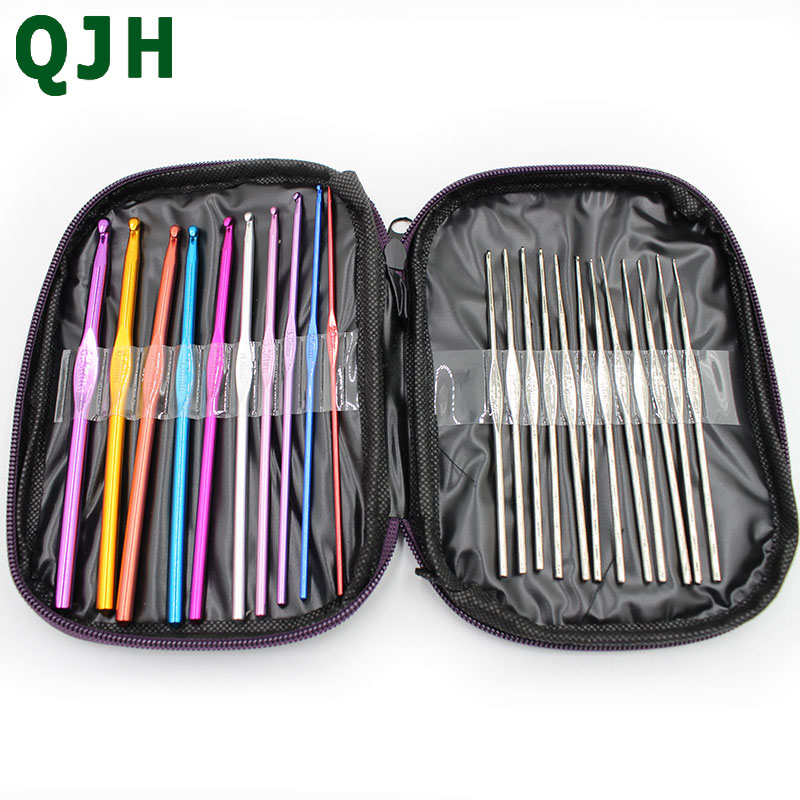 22pcs Multi Coloured Aluminium Crochet Hooks Knitting Needles Set Weave Craft with Bag Handle Knit Set Weave Sweater Craft Yarn in Sewing Tools Accessory from Home Garden