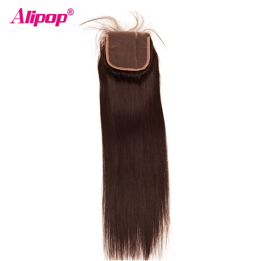 #2 Dark Brown Colored Hair Brazilian Straight Lace Closure With Baby Hair ALIPOP NonRemy 10-20 Swiss Lace Human Hair Closure