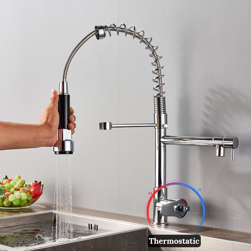 Good Quality Wholesale And Retail Chrome Finished Pull Out Spring Thermostatic Kitchen Faucet Swivel Spout Vessel Sink Mixer Tap цены