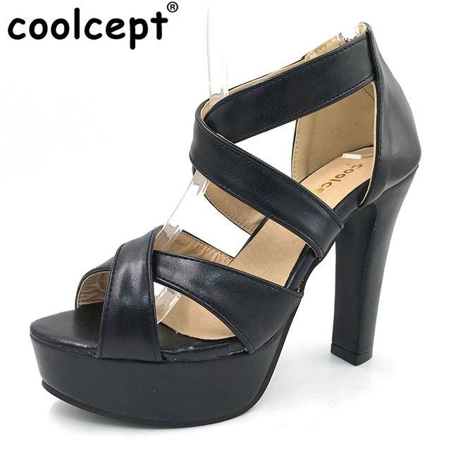 12bb228e0 Coolcept mulheres plataforma sandálias cinta cruz sexy sapatos calçados  saltos mulher zíper cor pura sapatos de