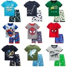 Популярные летние детские пижамы, одежда для маленьких мальчиков, костюм с героями мультфильмов, пижамы с короткими рукавами, детская одежда для сна, пижамные комплекты