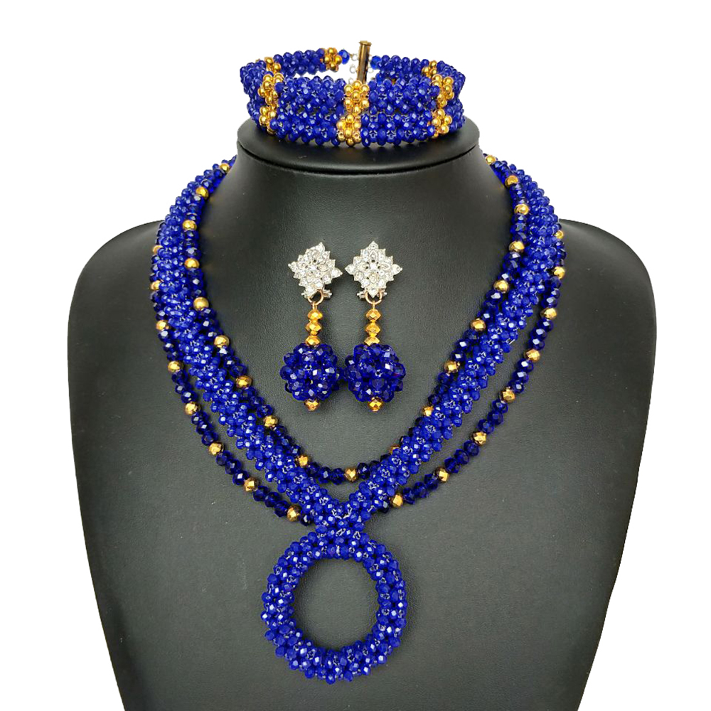Blue Hand Made Crystal African Beaded Necklace Nigerian Wedding Beads Jewelry Set for Women African Bridal Beads Jewelry Set
