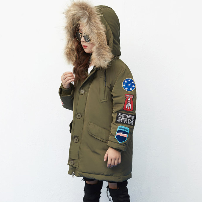 Kids Down Coat With Real Raccoon Fur Collar 2017 New Girls Boys Long Down Coat Parkas Thicken Warm Hooded Fashion Coat For Girls 2017 winter new clothes to overcome the coat of women in the long reed rabbit hair fur fur coat fox raccoon fur collar