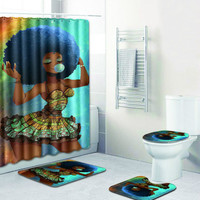 The Indian Decoration 4 Piece Shower Curtain Set Printing Bath Mat Anti Slip Bathroom Rug Set 50x80cm Carpet for Home Decor