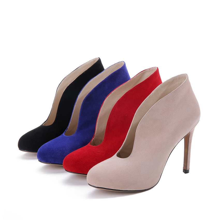 Fashion Brand Women Boots Sexy High Heels Ankle Boots Women Pumps Suede Shoes Woman