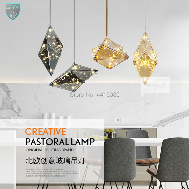 New living room, creative personality, decorative diamond lamp, simple modern light luxury bar staircase restaurant chandelier modern bedroom lamp art restaurant chandelier ring brass pendant lamp staircase entrance bar hotel room light