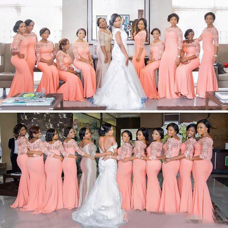 2019   Bridesmaid     Dresses   Coral Half Long Sleeves Top Lace Sweep Train Maid Of Honor Evenin Occasion Gowns
