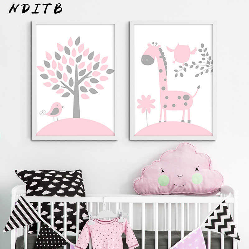 Baby Nursery Girl Wall Art Canvas Posters and Prints Pink Cartoon Painting Nordic Kids Decoration Picture Children Bedroom Decor
