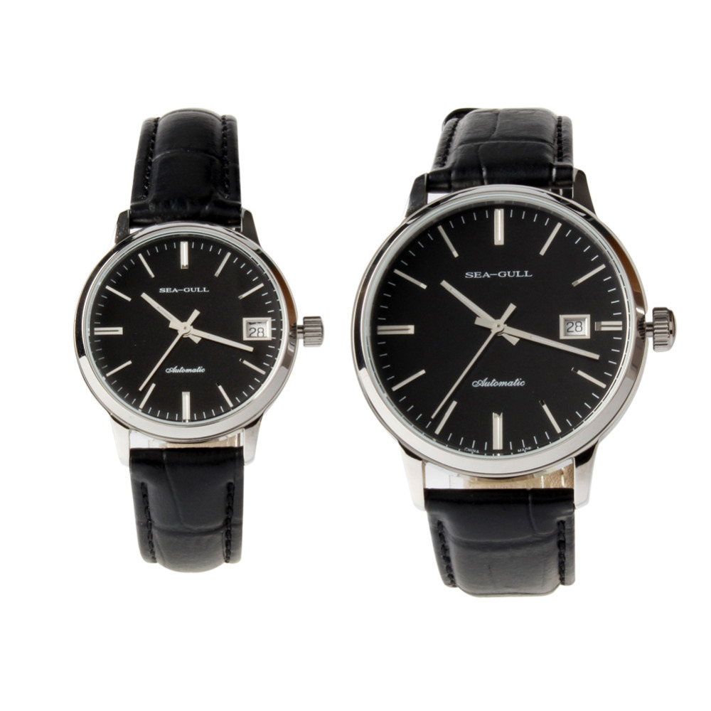 Seagull Couple Watches Genuine Leather Strap Exhibition Back Date Automatic Watches D101+D101L ST2130 Movement Lover's Watches