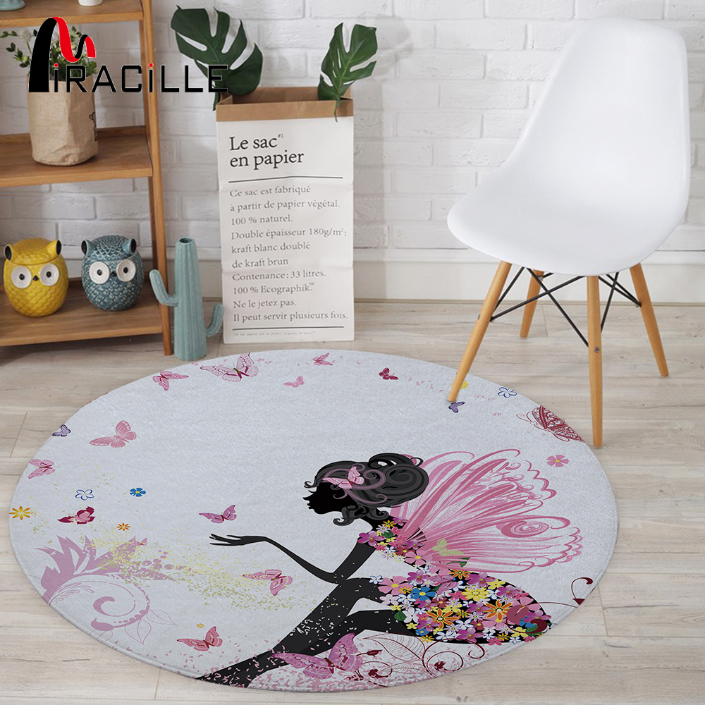 Miracille Cartoon Series Fairy Printed Children Carpets Baby Crawling Anti Slip Round Area Rugs For Living Room Bath Mat