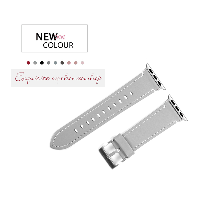 41dd0050508 Leather Bands Compatible Apple Watch 38mm Slim Replacement Wristband Sport  Strap for Iwatch Nike+ Series 3 2 1 Edition-in Watchbands from Watches on  ...