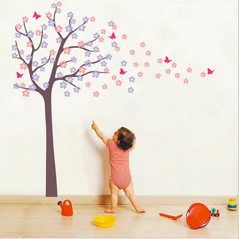 Huge Tree Blowing Cherry Blossom Wall Decals Nursery Tree Flowers