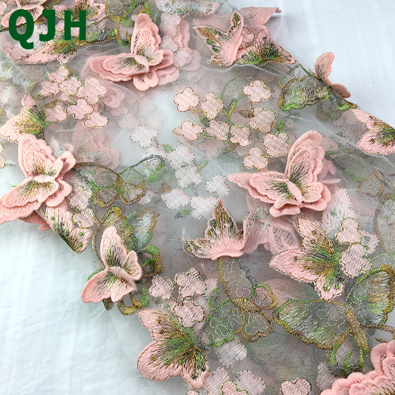Multicolor Embroidery Applique Lace Fabric 450cm 130cm Lifelike Butterfly Embroidered Mesh Tulle Party Dress French Lace