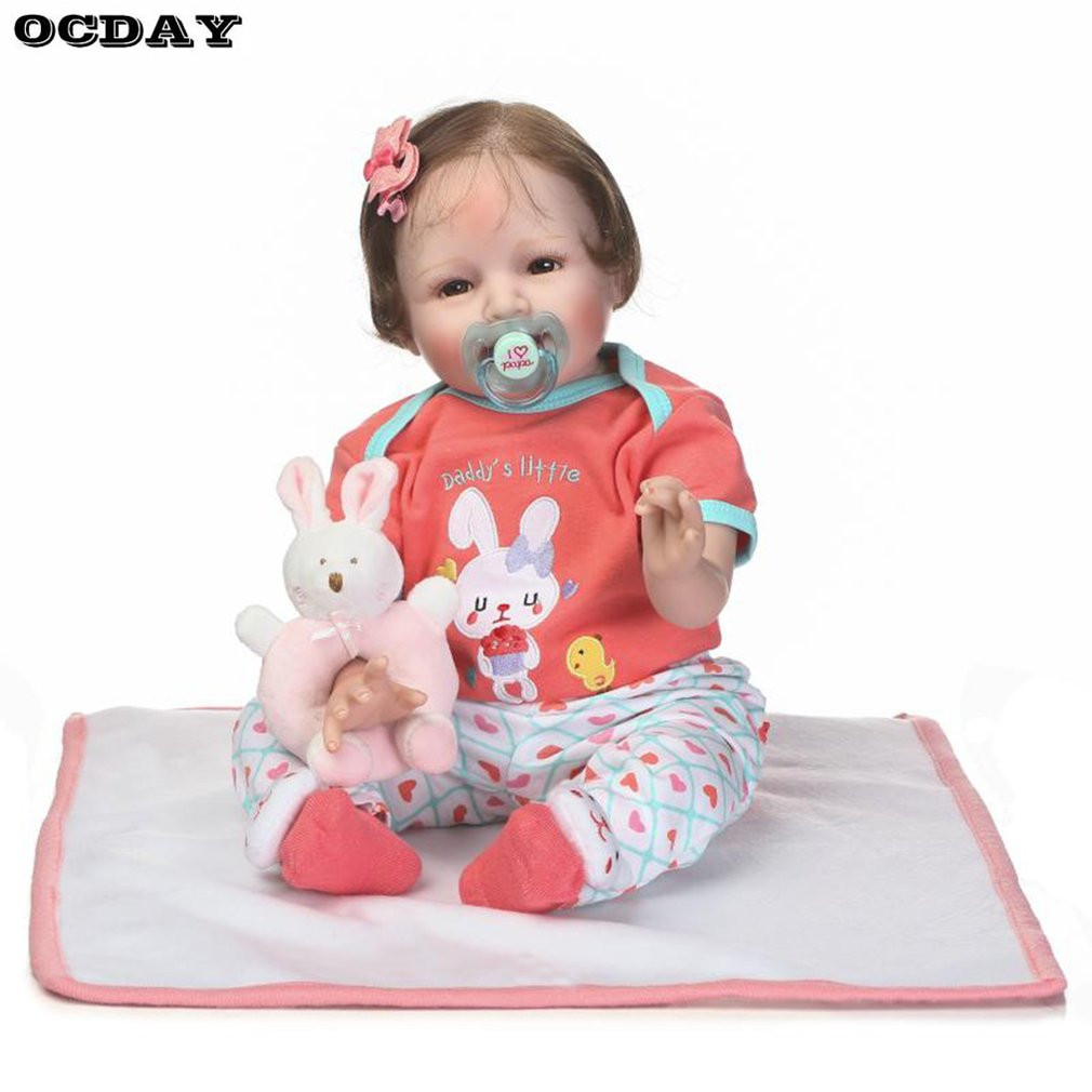 New Cloth Body Soft Silicone Vinyl Reborn Baby Doll Toys Lifelike Non-toxic Safe Handmade Baby Doll for Girls Playmate Gift hot npk doll 55cm reborn baby doll toys cloth body soft silicone vinyl baby boy doll non toxic toy handmade lifelike dolls