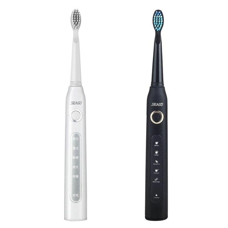 Seago USB Aufladbare Elektrische Zahnbürste Erwachsene Wasserdichte Tiefe Saubere Zähne Pinsel Mit 2 Ersatz Köpfe zahnbürste