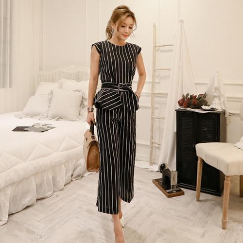 2018 Korean Summer Temperament Sleeveless Two Piece Set Stripe Fashion Wide Legging 2 Piece Set Women 5