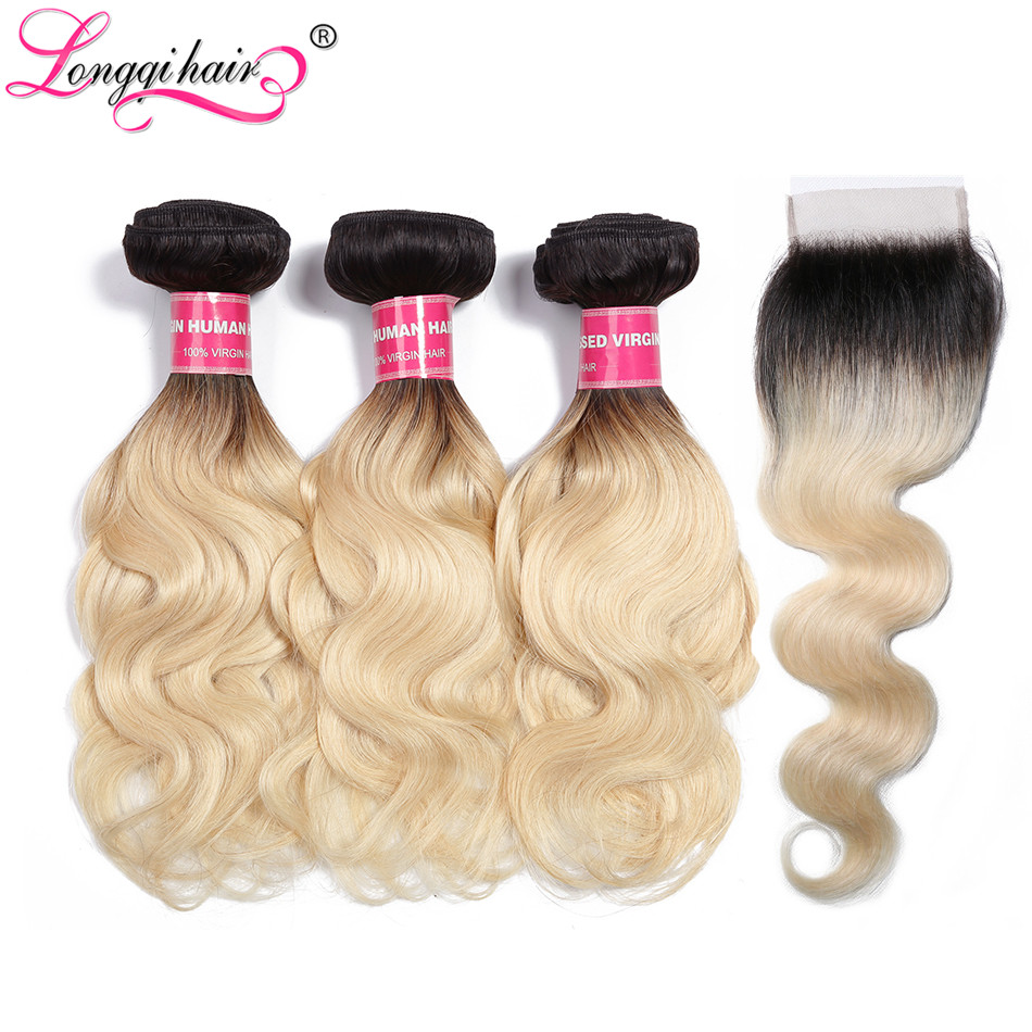 Salon Hair Supply Chain Dependable Longqi T1b/613 Blonde Body Wave Human Hair Bundles With Closure Pre Colored Brazilian Remy Hair Bundles With Closure Free Part Lustrous Surface Hair Extensions & Wigs