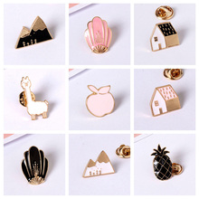 Girl Brooches New Popular Lovely Pineapple House Fox Alloy Pins Buttton Pin Fashion Jewelry