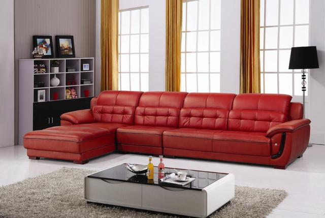 US $1850.0  Free Shipping Top Grain Cattle Leather, Multicolor for  selction, Smart Style Home sectional sofa set E307-in Living Room Sofas  from ...