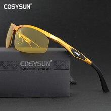 Gafas de conducción con visión nocturna para hombre, lentes de aleación de aluminio para conducción nocturna
