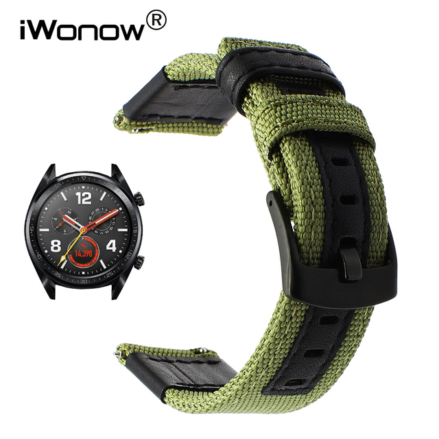 Canvas Nylon + Genuine Leather Watchband for Huawei Watch GT Quick Release Band