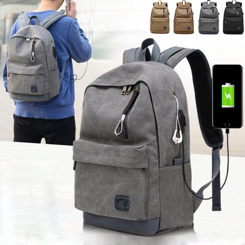 Men Women Canvas Backpack USB Charging Headphone Holes Backpack for Teenagers Adult Office Laptop Ipad Daypack mochila Backpack new style school bags for boys